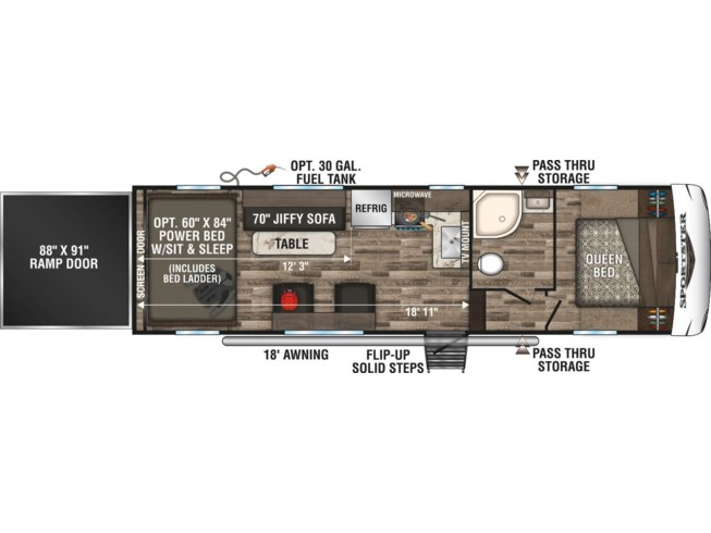 2020 K-Z Sportster 280TH - New Toy Hauler For Sale by McClain's RV Rockwall in Rockwall, Texas features 50 Amp Service, Air Conditioning, AM/FM/CD, Awning, Batteries, Battery Charger, Black Tank Flush, Bluetooth Stereo, Bunk Beds, Bunkhouse, Cable Prepped, CD Player, CO Detector, Day/Night Shades, DVD Player, Exterior Speakers, Fire Extinguisher, Fuel Cell w/ Pump Station, Furnace, Generator, Kitchen Sink, Ladder, Leather Furniture, LED Lights, LP Detector, Medicine Cabinet, Microwave, Mini Blinds, Oven, Overhead Cabinetry, Pantry, Power Awning, Power Roof Vent, Propane, Queen Bed, Queen Mattress, Rear Ramp Door, Recliner(s), Refrigerator, Removable Table, Roof Vent, Roof Vents, Satellite Prepped, Screen Door, Second Roof A/C, Shower, Skylight, Smoke Detector, Sofa Bed, Solar Prep, Spare Tire Kit, Stabilizer Jacks, Stove, Stove Top Burner, Toilet, TV Antenna, Wardrobe(s), Water Heater