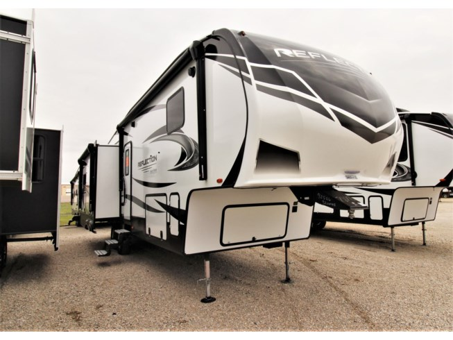 2021 Grand Design Reflection 320MKS - New Fifth Wheel For Sale by McClain's Longhorn RV in Sanger, Texas features 50 Amp Service, Air Conditioning, Aluminum Entrance Steps, AM/FM/CD, Awning, Batteries, Battery Charger, Bench Seat, Black Tank Flush, Bluetooth Stereo, Cable Prepped, CD Player, CO Detector, Computer Station, Convection Microwave, Day/Night Shades, Detachable Power Cord, Dinette, DVD Player, Enclosed Underbelly, Exterior Grill, Exterior Refrigerator, Exterior Speakers, External Shower, Fire Extinguisher, Fireplace, Free Standing Dinette w/Chairs, Furnace, Glass Shower Door, Heated Underbelly, Island Kitchen, King Size Bed, Kitchen Sink, Ladder, Leather Furniture, LED HDTV, LED Lights, LP Detector, Medicine Cabinet, Mini Blinds, Outside Entertainment Center, Outside Kitchen, Oven, Overhead Cabinetry, Pantry, Pass Thru Storage, Power Awning, Power Roof Vent, Propane, Recliner(s), Refrigerator, Roof Vent, Roof Vents, Satellite Prepped, Screen Door, Second Roof A/C, Shower, Skylight, Slam Latch Baggage Doors, Slideout, Slide-out Awning, Smoke Detector, Sofa Bed, Solar Prep, Solid Surface Countertops, Stabilizer Jacks, Stereo System, Stove, Stove Top Burner, Table and Chairs, Toilet, TV, TV Antenna, Wardrobe(s), Washer/Dryer Prep, Water Heater