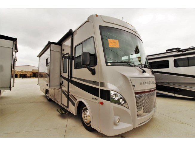 2020 Winnebago Intent 28Y - New Class A For Sale by McClain's Longhorn RV in Sanger, Texas features 30 Amp Service, Air Conditioning, AM/FM/CD, Awning, Batteries, Battery Charger, Booth Dinette, Cable Prepped, CD Player, CO Detector, Day/Night Shades, Dinette, Dinette Bed, DVD Player, Exterior Refrigerator, Exterior Speakers, Fire Extinguisher, Furnace, Generator, Glass Shower Door, Kitchen Sink, Ladder, Leather Furniture, LED HDTV, LED Lights, LP Detector, Medicine Cabinet, Microwave, Outside Kitchen, Oven, Overhead Cabinetry, Pantry, Power Awning, Propane, Queen Bed, Queen Mattress, Refrigerator, Roof Vent, Roof Vents, Screen Door, Shower, Skylight, Slideout, Smoke Detector, Stove, Stove Top Burner, Toilet, TV, TV Antenna, Wardrobe(s), Water Heater