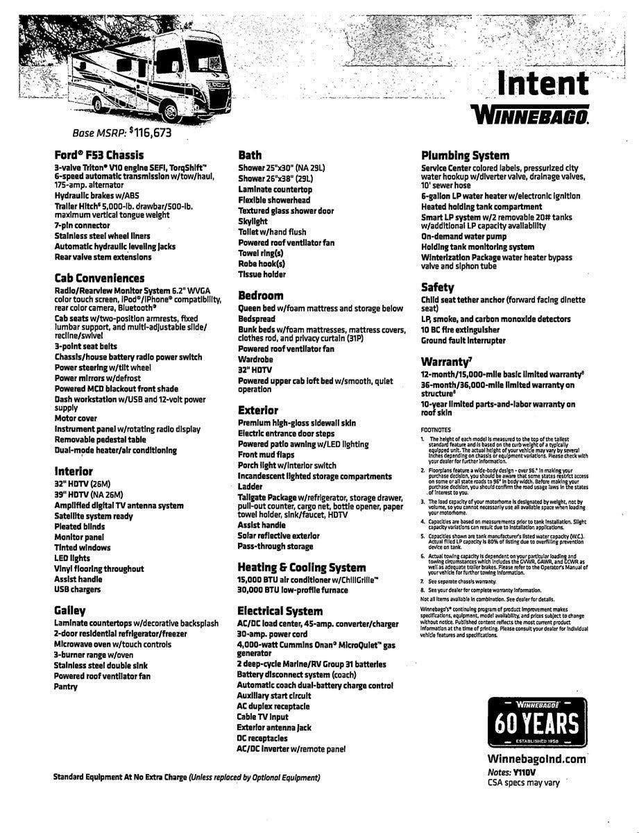 2019 Winnebago RV Intent 31P for Sale in Fort Worth, TX 76140   90334