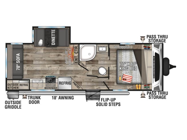 2021 K-Z Connect 241RLK - New Travel Trailer For Sale by McClain's RV Fort Worth in Fort Worth, Texas features Spare Tire Kit, Slideout, Awning, Exterior Speakers, Outside Kitchen