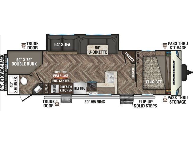 2020 K-Z Sportsmen LE 301BHKLE - New Travel Trailer For Sale by McClain's RV Superstore in Corinth, Texas features Air Conditioning, AM/FM/CD, Batteries, Black Tank Flush, Bunk Beds, Cable Prepped, CO Detector, Dinette Bed, Enclosed Underbelly, Exterior Speakers, External Shower, Fire Extinguisher, Furnace, Heated Underbelly, Kitchen Sink, LED Lights, LP Detector, Microwave, Oven, Overhead Cabinetry, Pantry, Pass Thru Storage, Pet Friendly, Pleated Shades, Power Awning, Power Roof Vent, Propane, Queen Bed, Refrigerator, Screen Door, Shower, Skylight, Slideout, Smoke Detector, Sofa Bed, Solar Prep, Spare Tire Kit, Stove Top Burner, Toilet, TV Antenna, U-Shaped Dinette, Water Heater