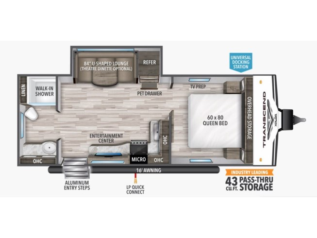 2021 Grand Design Transcend Xplor 221RB - New Travel Trailer For Sale by McClain's RV Superstore Corinth in Corinth, Texas features 30 Amp Service, Air Conditioning, Aluminum Entrance Steps, AM/FM/CD, Batteries, Black Tank Flush, Bluetooth Stereo, Cable Prepped, CD Player, CO Detector, Detachable Power Cord, DVD Player, Enclosed Underbelly, Exterior Speakers, External Shower, Fire Extinguisher, Furnace, Heated Underbelly, Kitchen Sink, Ladder, LED HDTV, LED Lights, LP Detector, Medicine Cabinet, Microwave, Oven, Overhead Cabinetry, Pass Thru Storage, Pet Friendly, Pleated Shades, Power Awning, Power Roof Vent, Propane, Queen Bed, Recliner(s), Refrigerator, Removable Table, Roof Vent, Roof Vents, Satellite Prepped, Screen Door, Shower, Skylight, Slideout, Smoke Detector, Solar Prep, Solid Surface Countertops, Stove Top Burner, Theater Seating, Toilet, TV Antenna, Water Heater