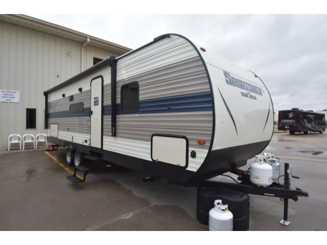 2020 K-Z Sportsmen SE 271BH - New Travel Trailer For Sale by McClain's RV Oklahoma City in Oklahoma City, Oklahoma features 30 Amp Service, Air Conditioning, Alloy Wheels, Aluminum Entrance Steps, Auxiliary Battery, Awning, Black Tank Flush, Booth Dinette, Bunk Beds, Cable Prepped, CO Detector, Detachable Power Cord, Exterior Speakers, External Shower, Fire Extinguisher, Furnace, Kitchen Sink, LED Lights, Load Lights, LP Detector, Medicine Cabinet, Microwave, Non-Smoking Unit, Oven, Overhead Cabinetry, Pantry, Pleated Shades, Propane, Queen Bed, Refrigerator, Roof Vent, Screen Door, Shower, Slideout, Smoke Detector, Sofa Bed, Solar Prep, Solid Surface Countertops, Spare Tire Kit, Stove, Stove Top Burner, Toilet