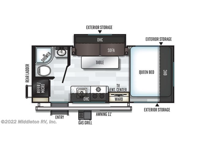Floorplan of 2020 Forest River Flagstaff E-Pro E19FBS