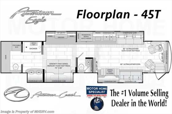 New 2017 American Coach American Eagle 45T Bath & 1/2 Luxury Coach W/IFS & Ultra Steer Floorplan