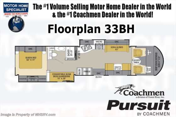 New 2017 Coachmen Pursuit 33BHP Bunk House RV for Sale at MHSRV W/2 15K A/C Floorplan