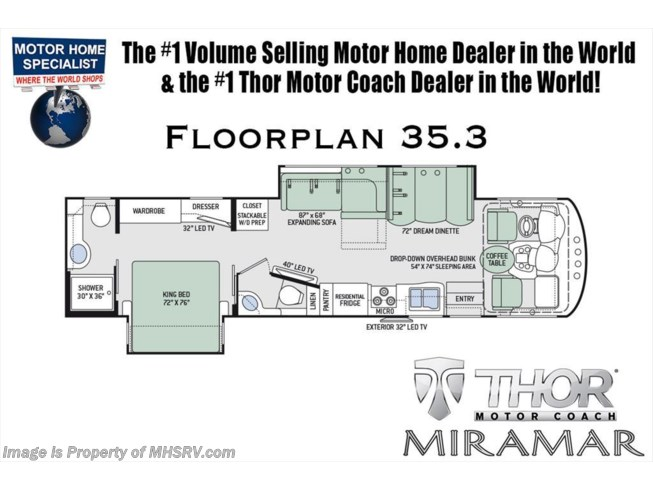 Floorplan of 2019 Thor Motor Coach Miramar 35.3