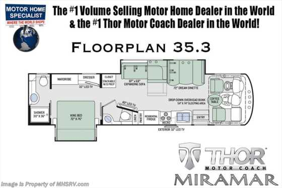 New 2019 Thor Motor Coach Miramar 35.3 Bath & 1/2 RV for Sale W/Fireplace & King Bed Floorplan