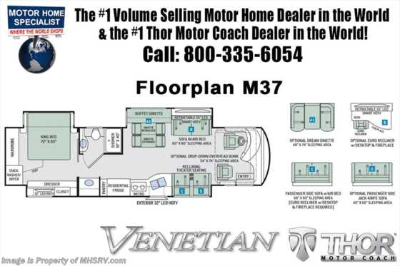 New 2019 Thor Motor Coach Venetian M37 Luxury Diesel RV W/Aqua Hot & Theater Seats Floorplan