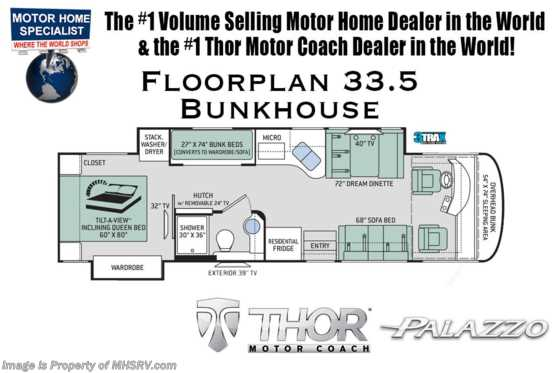 New 2019 Thor Motor Coach Palazzo 33.5 Bunk House Diesel Coach for Sale Floorplan