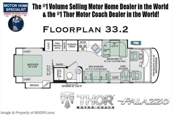 New 2019 Thor Motor Coach Palazzo 33.2 Diesel Pusher RV for Sale W/D & OH Loft Floorplan
