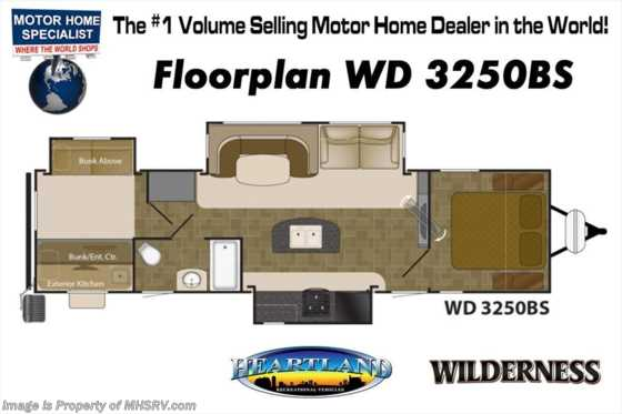 New 2018 Heartland  Wilderness 3250BS W/ 15K A/C, Ext Kitchen, Loft Bunks Floorplan