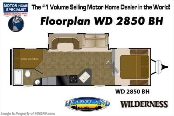 New 2018 Heartland  Wilderness 2850BH Bunk Model for Sale W/Rims, Ducted A/C Floorplan