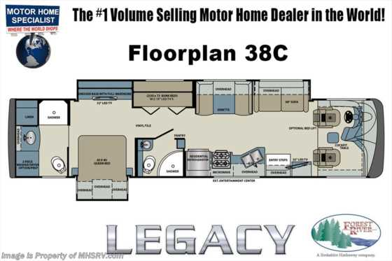New 2018 Forest River Legacy SR 38C W/Bunks, 2 Full Bath, Stack W/D, Loft, 5 TV Floorplan