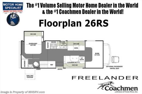 2019 Coachmen Freelander  26RSF W/15K A/C, Stabilizers, Ext. Kitchen & TV Floorplan