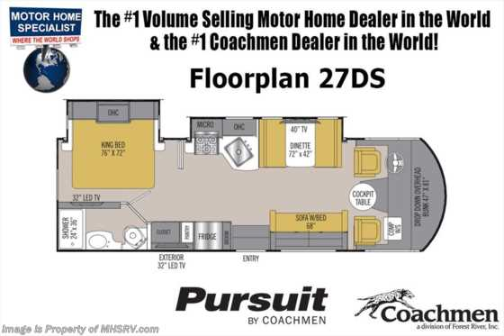 New 2019 Coachmen Pursuit Precision 27DSP W/15K A/C, O/H Loft, King Bed Floorplan