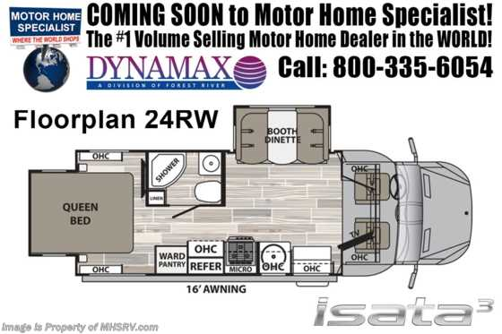 New 2019 Dynamax Corp Isata 3 Series 24RW Sprinter Diesel RV W/Dsl Gen, Sat, DVR Floorplan