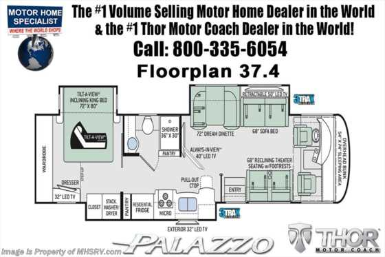 New 2019 Thor Motor Coach Palazzo 37.4 RV for Sale W/Theater Seats, King Bed, 340HP Floorplan