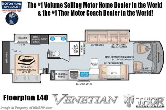 2020 Thor Motor Coach Venetian L40 Luxury RV for Sale W/Theater Seats & King Bed Floorplan