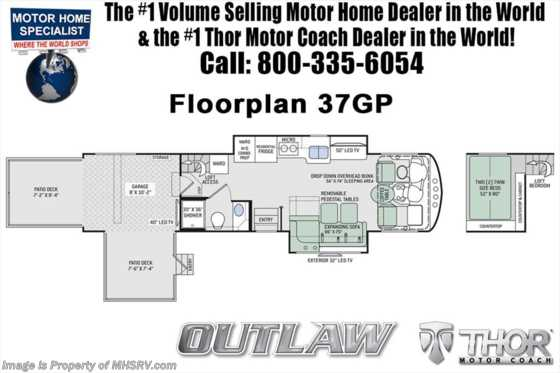New 2019 Thor Motor Coach Outlaw 37GP Toy Hauler W/2 Patio Decks, 3 A/Cs Floorplan