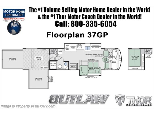 Floorplan of 2019 Thor Motor Coach Outlaw 37GP