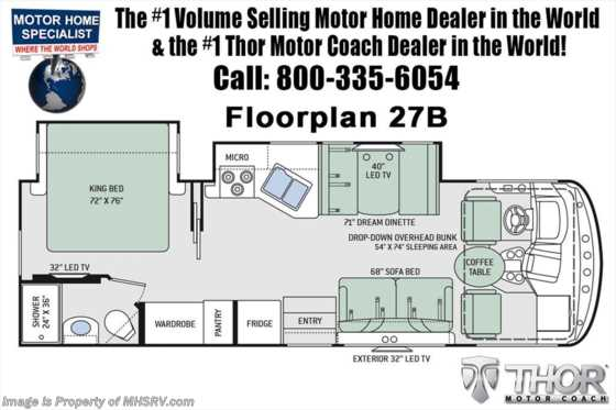 New 2019 Thor Motor Coach Hurricane 27B for Sale at MHSRV W/ 5.5KW Gen & 2 A/Cs Floorplan