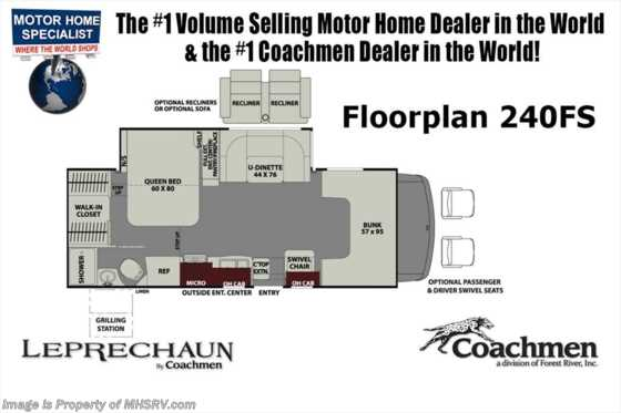 New 2019 Coachmen Leprechaun 240FSC RV for Sale at MHSRV W/15K A/C, Fireplace Floorplan