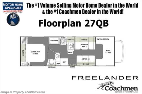 New 2019 Coachmen Freelander  27QBC W/ 15K A/C, Ext TV & Stabilizers Floorplan
