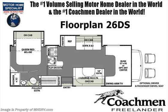 New 2019 Coachmen Freelander  26DSF W/Dual Recliners, 15K A/C, Ext TV Floorplan