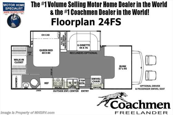 2019 Coachmen Freelander  24FS W/Ext TV, Fireplace, 15K A/C, Stabilizers Floorplan