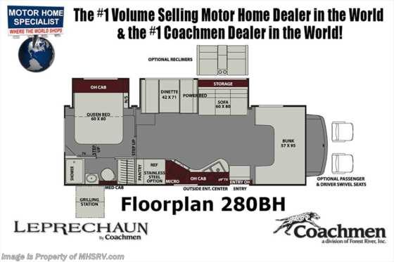 New 2019 Coachmen Leprechaun 280BH Bunk Model RV W/Dual Recliners, Stabilizers Floorplan