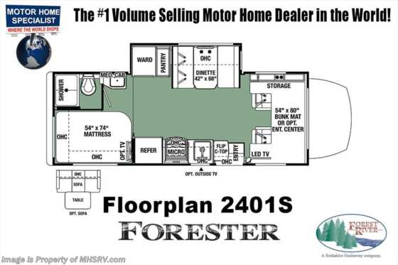 New 2019 Forest River Forester MBS 2401S Sprinter Diesel RV W/Dsl Generator, Ext TV Floorplan