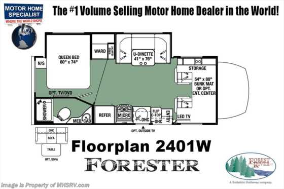 New 2019 Forest River Forester MBS 2401W Sprinter Diesel RV W/Exterior TV Floorplan