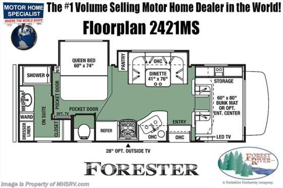 New 2019 Forest River Forester 2421MS W/Walk-in Closet, 2 Slides, Jacks, 3 TVs Floorplan