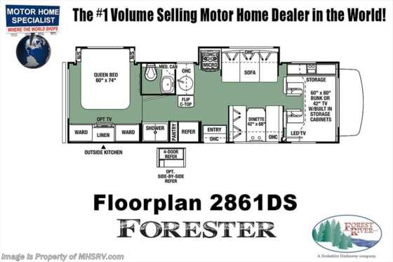 New 2019 Forest River Forester 2861DS W/15K A/C, 4-Dr. Fridge, Ext Kitchen & TV Floorplan