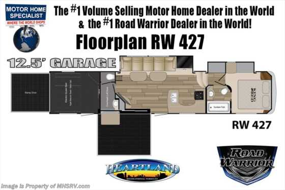 2019 Heartland RV Road Warrior 427RW Bath & 1/2 W/3 A/Cs, Ext TV, Arctic Floorplan