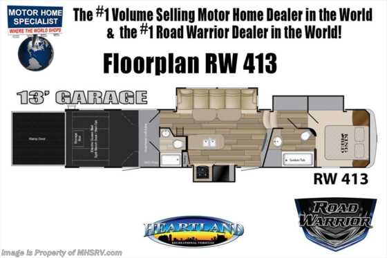 2019 Heartland RV Road Warrior 413RW W/ 3 A/Cs, Ext TV, Res Fridge, Arctic Floorplan