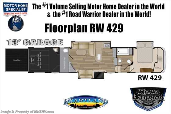 2019 Heartland RV Road Warrior 429RW Bath & 1/2 W/ Ext TV, 3 A/Cs, Res Fridge Floorplan