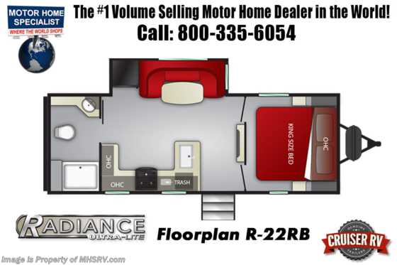 New 2019 Cruiser RV Radiance Ultra-Lite 22RB RV for Sale at MHSRV W/ 15K A/C Floorplan