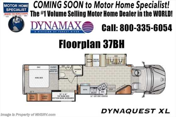 2019 Dynamax Corp Dynaquest XL 37BH Bunk Model Super C W/Theater Seats, Cab Over Floorplan