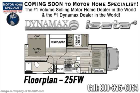 New 2019 Dynamax Corp Isata 4 Series 25FW Luxury Class C RV for Sale W/ Jacks, Rims Floorplan