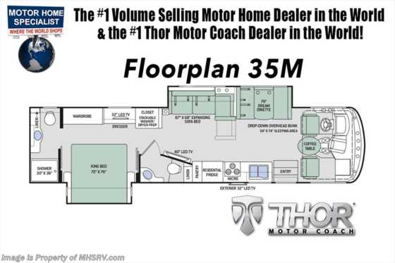 New 2019 Thor Motor Coach Hurricane 35M Bath & 1/2 RV for Sale W/King, OH Loft Floorplan