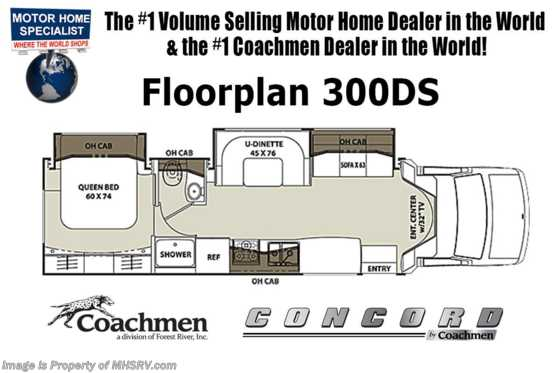 New 2019 Coachmen Concord 300DS RV for Sale W/Recliners, Sat, Jacks, 15K A/C Floorplan