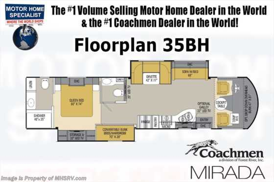 New 2019 Coachmen Mirada 35BH Bunk Model Bath & 1/2 W/Ext TV, 2 15K A/Cs Floorplan