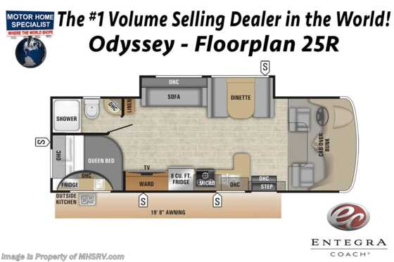 "New 2019 Entegra Coach Odyssey 25R W/Ext Kitchen, 50"" LED TV, Jacks, 15K A/C Floorplan"