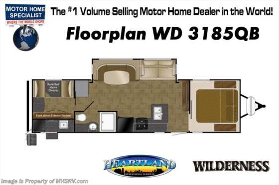 New 2019 Heartland  Wilderness 3185QB W/ Double Loft Bunks, 2 A/Cs Floorplan