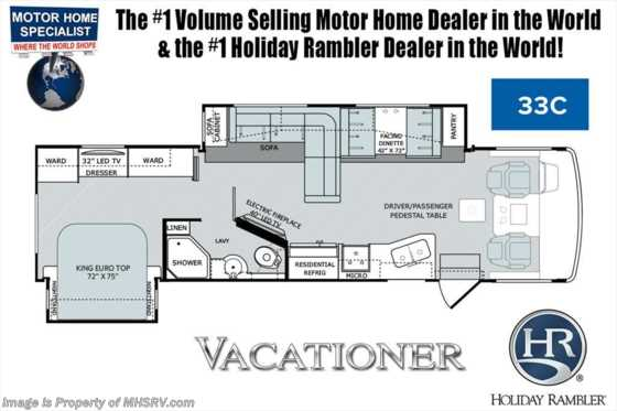 New 2019 Holiday Rambler Vacationer 33C W/King Bed, Hide-A-Loft, Fireplace Floorplan