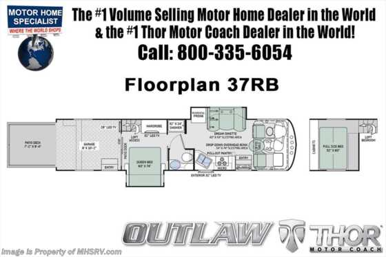 New 2019 Thor Motor Coach Outlaw 37RB Toy Hauler RV W/ Garage Sofa, Patio Deck Floorplan