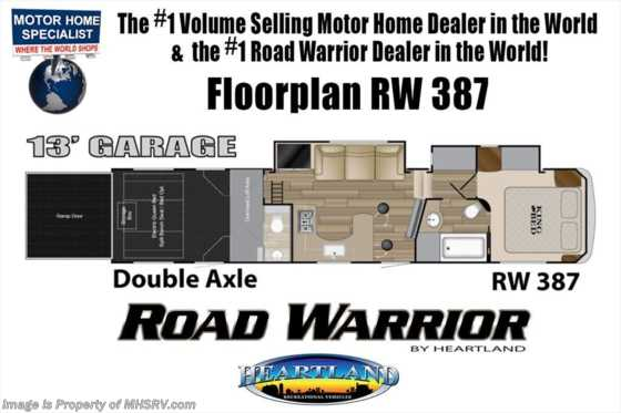 2019 Heartland RV Road Warrior 387RW Bath & 1/2 W/ Ext TV, 3 A/Cs, Dual Pane Floorplan